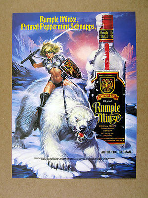 1993 Rumple Minze Schnapps warrior woman riding polar bear Fantasy art print Ad