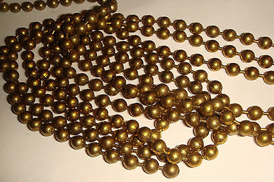 BRASS BALL CHAIN   VINTAGE  10 FT   4.5 mm   #10 size   1970's    CLEAN
