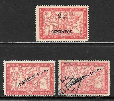 MOZAMBIQUE 1918-1919 'PETRIA' Error on 2 Mint & 1 Used Stamps (Feb 0072)