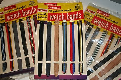 """Vintage Lion Head Watch Band Display with 12 Washable Nylon Bands 9"""" Long  TWO"""