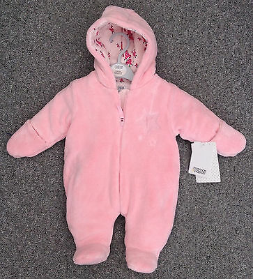 New! Baby Girls Faux Fur Snowsuit NB Designer Mamas and & Papas BNWT