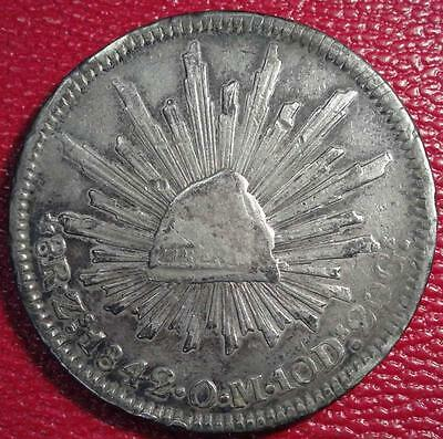 1842 Zs Om Mexico Silver 8 Reales Crown Coin #cf171