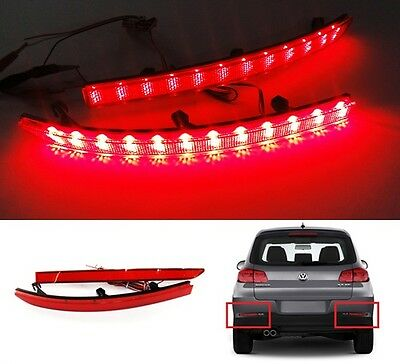 2 VW Tiguan 5N Red Rear Bumper Reflector LED Indicator Fog Tail Brake Stop Light