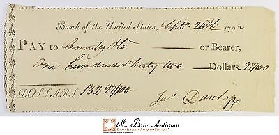 1792 $132.97 Bank Of The United States Check 1700's Vintage *548