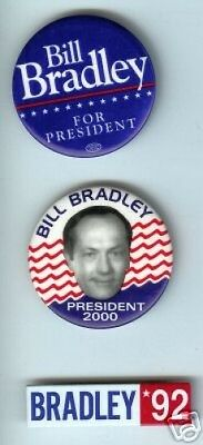 Bill BRADLEY pin basketball NBA President 1992  2000 1 ( only one ) PINBACK