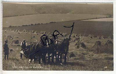 Harvesting In Sussex  Fine Rural Card With  Horses