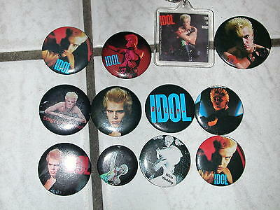 BILLY IDOL ROCK PIN LOT 11 BUTTONS PINS RARE & Key Chain 1980s