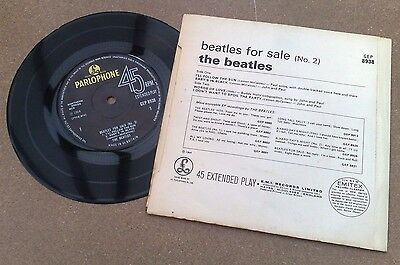 """ Beatles For Sale No. 2  "" Super Uk Ep Very Rare No Flip Sleeve 72 Solid Centre"