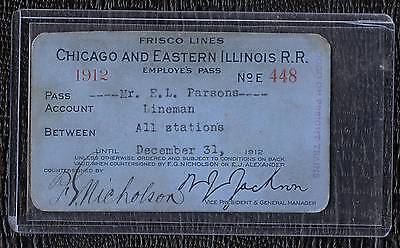 1912 Chicago & East Illinois Railroad Lineman Employe's Pass in Sleeve