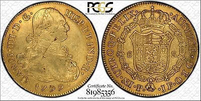 1799 JF 8 Escudos Gold Coin PCGS XF 40 Colombia