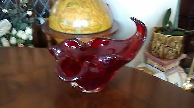 Ruby Red Glass Candy Bowl
