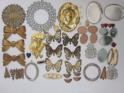 50 Vtg Big Lot Assorted Stampings Cameo Settings Filigree Brass Jewelry Findings