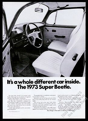 1973 VW Volkswagen Super Beetle classic car photo vintage print ad
