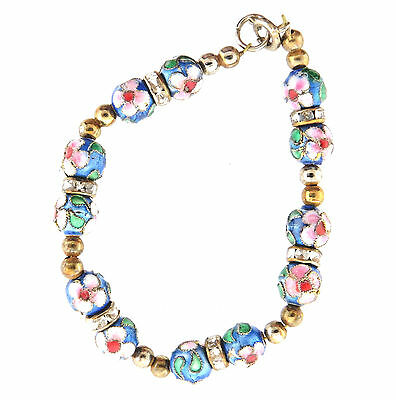 Enamel Cloisonne Bead Bracelet Hand crafted 8mmx6.5""