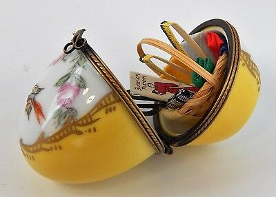 Limoges France Hand Painted Trinket Box - Yellow Sewing Theme Egg with Bird
