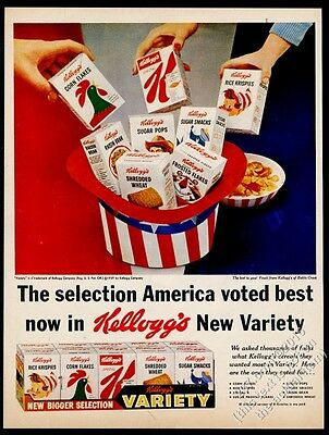 1959 Kellogg's Variety pack small cereal boxes photo vintage print ad