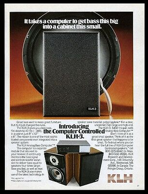 1979 KLH KLH-3 speaker with analog bass computer photo vintage print ad