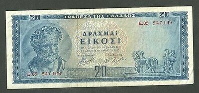 1955 Greece 20 Drachma Currency Note Pick 190 Paper Money