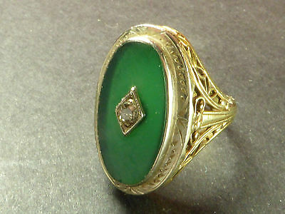 Beautiful, Victorian, 14 Ct Gold Ornate Ring With Fine Jade And Diamond Gems