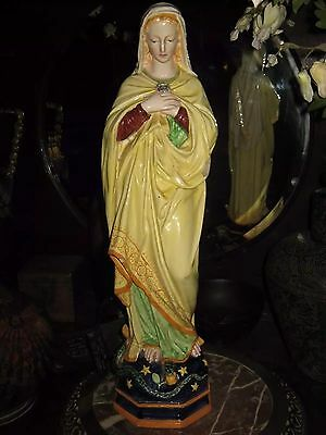 c1900 LARGE FAIENCE MARY STATUE - CANTAGALLI? - AS FOUND -19 inches