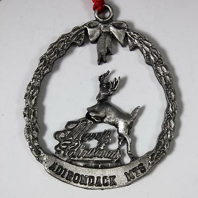 Pewter Adirondack Mountains Merry Christmas Ornament w/Reindeer
