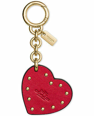 New Arrival! Nwt Coach 59004B Gift Boxed Studded Heart Bag Charm ~ Gold / Red