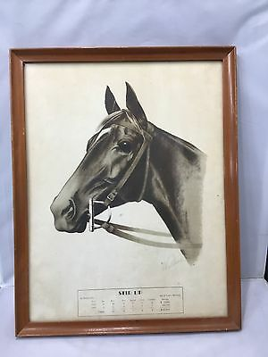 Vintage Print Horse Stir Up by Stimulus Signed Wallace Framed 1943 - 1944 18x14