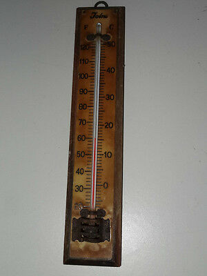 Vintage Wooden Temperature Gauge Thermometer