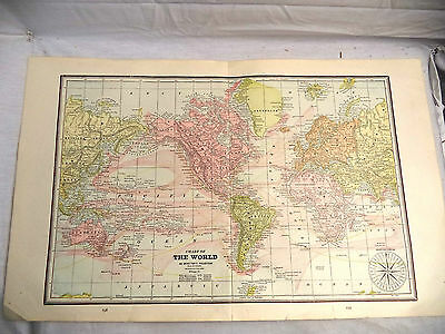 Antique 1891 Geo Cram Map Chart of World Mercator's Projection + Astronomical