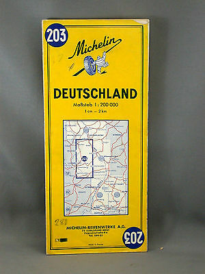 Germany Road  Advertising German Color Road Map Michelin Tires 1967