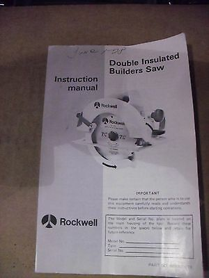 Vintage Rockwell Manual For Model 346-1  315-1 & 368-1 Saws