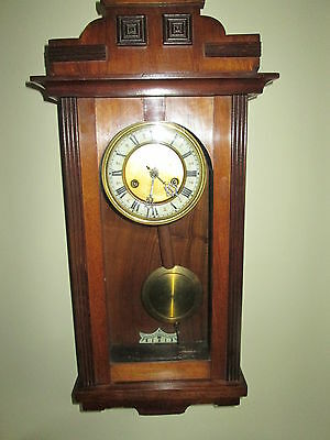 Vintage Mahogany Cased Wall Clock. 8 Day. Chiming. Good Time keeper