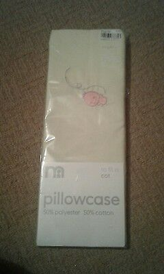 Mothercare Pillowcase For A Cot. Lemon With Small Bird Motif. New In Packet