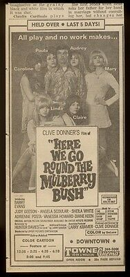 1968 Judy Geeson etc cast photo Here We Go Round the Mulberry Bush movie ad