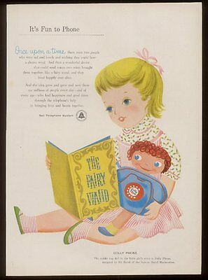 1956 little girl & Dolly Phone Bell Telephone vintage print ad