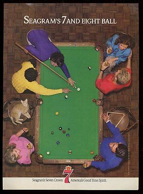 1987 pool table friends & cat photo Seagram's 7 Crown whiskey vintage print ad
