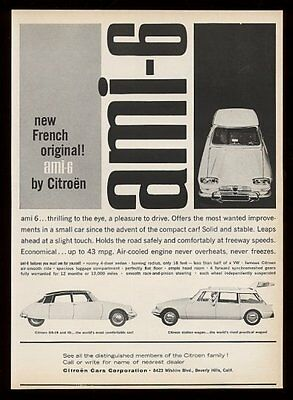 1962 Citroen AMI-6 DS-19 & station wagon 3 car photo vintage print ad