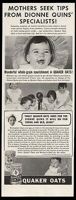 1936 Dionne Quints quintuplets 3 photo Quaker Oats vintage print ad