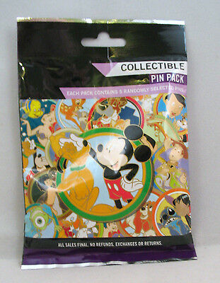 Disney Pin Mystery Pack MICKEY PLUTO Collectible Randomly Selected 5 Pins SEALED