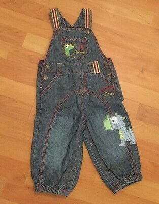 Next 9-12 months Boys Dinosaur Dungaree Jeans Trousers Excellent condition