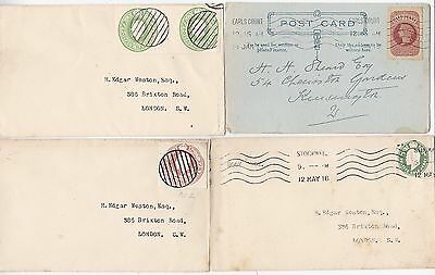 * 1913/16 3 Covers 1 P/c Cut Outs For Postage Edgar Weston Ww1 Naval Dumb Pmks