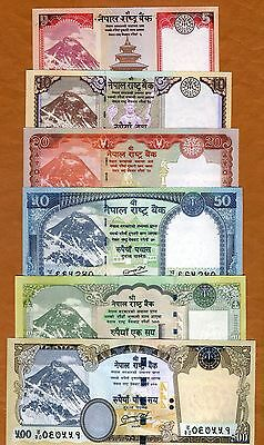 SET Nepal, 5;10;20;50;100;500 Rupees 2012 P-New, Rastra Bank UNC Everest Animals