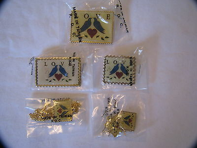 3 Love Bird 25 Cents Us Postal Stamp Pins 1 Necklace 1 Pair Of Earrings