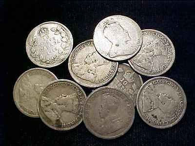 CANADA 1910 - 1931 Silver Ten Cents Lot - 9 Pcs.