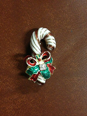 """Vintage Candy Cane Christmas Holiday Pin with Clear Stones 1.5"""" Long"""