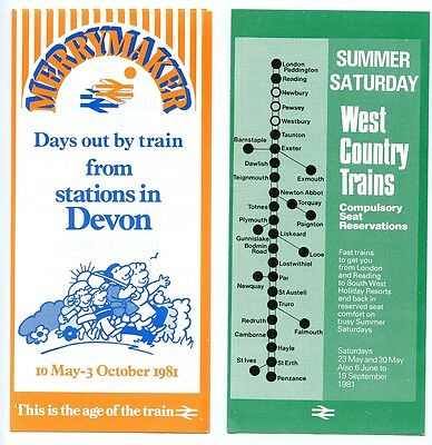B.r.'merrymaker' Stations In Devon; West Country Reservations, 2 1981 Leaflets.