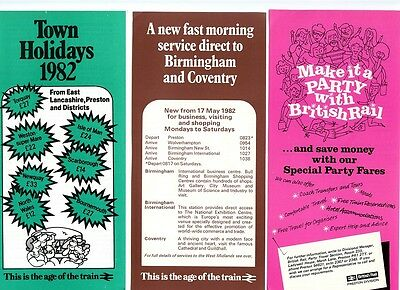 B.r. Preston Division; 3 X Leaflets 'town Holidays', Party Travel, W.mids. 1982