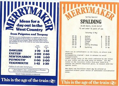 B.R.: 3 X 1980s 'MERRYMAKER' LEAFLETS:WEST COUNTRY, SPALDING, NEWBURY RACES.