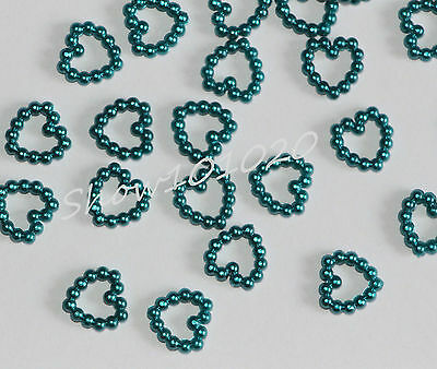 500 Teal Pearl Open Heart Wedding Table Confetti Decoration,12mmx12mm    (D93)