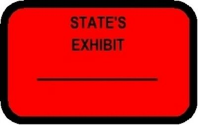 State's Exhibit Labels Sickers Red 492 Per Pack